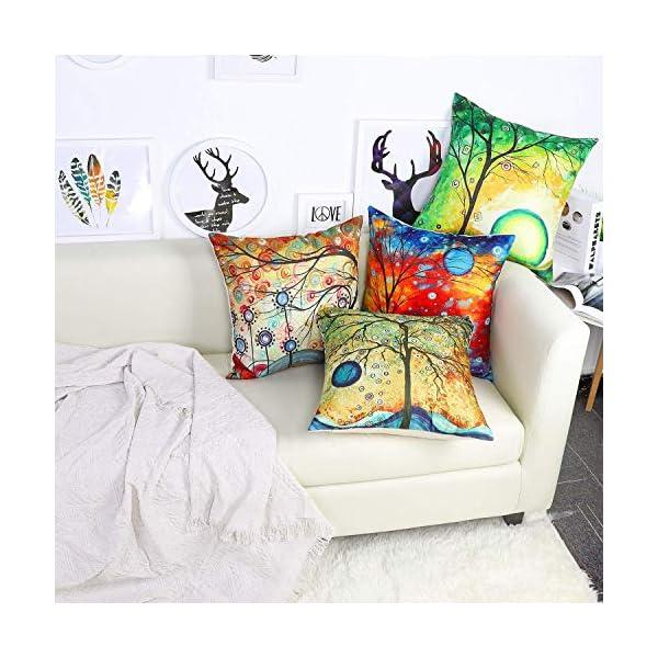 51VEUjCoAvL Freeas Kissenbezug 45 x 45 cm, Baumwolle Leinen Tropische Pflanzen Kissenhülle Taille Wurf Kopfkissenbezug für Zuhause…