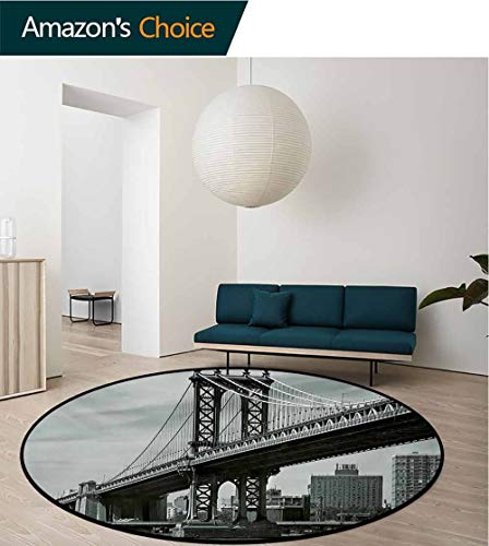 RUGSMAT New York Machine Washable Round Bath Mat,Bridge of NYC Vintage East Hudson River Image USA Travel Top Place City Photo Art Print Non-Slip No-Shedding Bedroom Soft Floor Mat,Round-39 Inch