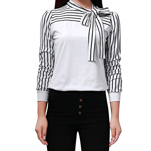 Length Sleeve Tie (Women T-Shirt, Among Fashion Tie-Bow Neck Striped Tops Long Sleeve Splicing Shirt Patchwork Elegant Blouse Coat Clothes (L, White))