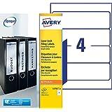 Avery 100 Etiquettes Autocollantes pour Dos de Classeur - 192x61mm - Impression Laser - Blanc (L4761)