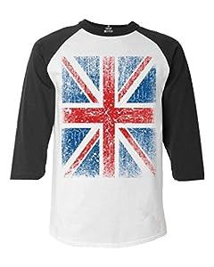 Shop4Ever® Union Jack Vintage British Flag Baseball Shirt United Kingdom Flag Raglan Shirt