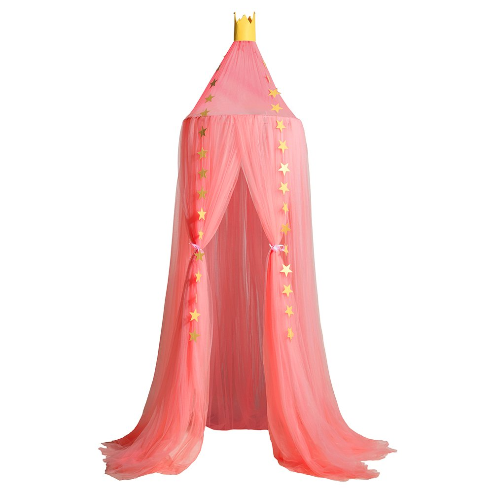 Bed Canopy Mosquito Net for Girls Baby Crib, Round Dome Girls Indoor Outdoor Castle Play Tent Hanging House Decoration (Watermelon Red)