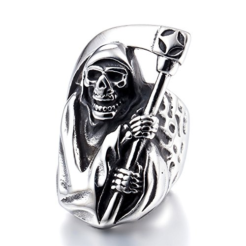 ZMY 2018 Mens Fashion Jewelry 316L Stainless Steel Rings Men,Silver Grim Reaper Skull Ring Dropshipping suppliers USA (9)