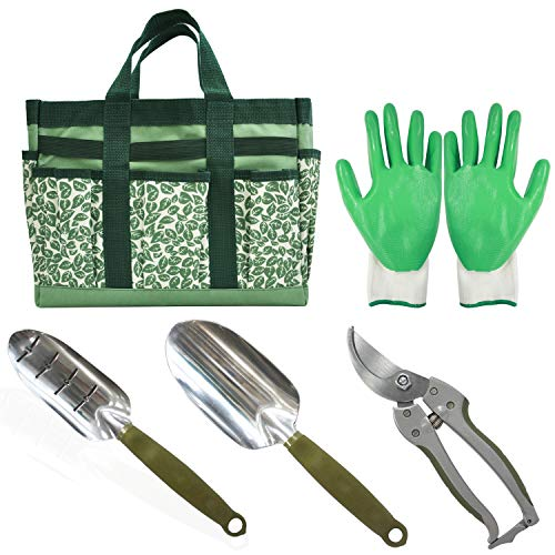 CERBIOR Garden Tool Set 5 Piece Heavy Duty Hand Tools with Garden Canvas Bag for Women/Men by CERBIOR