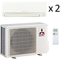 12,000 Btu 18 Seer Mitsubishi Dual Zone Ductless Mini Split - 6K-6K - Heat Pump System