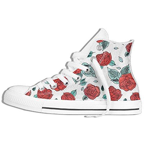 Blomma Ros Hög Topp Klassiska Tygskor Mode Sneaker Vit