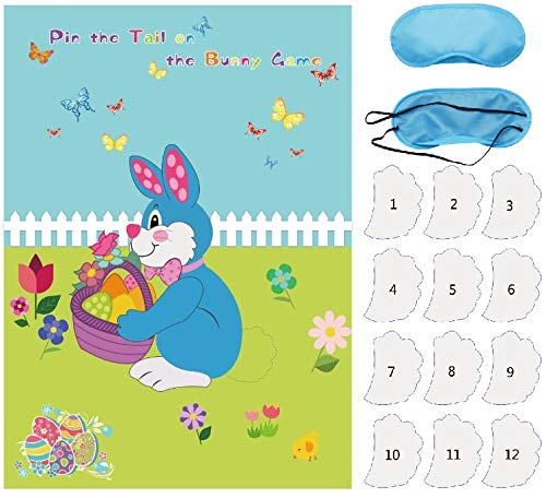 Pin The Tail On The Bunny - Ocosy Pin The Tail on The Bunny Easter Party Decorations Favors Supplies Easter Games Include 24 Tails (EasterB)