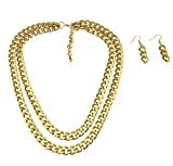 Dual Layered Chunky Cuban Curb Chain Necklace Set Matching Chain Drop Earrings 2 Line (gold-plated-base)