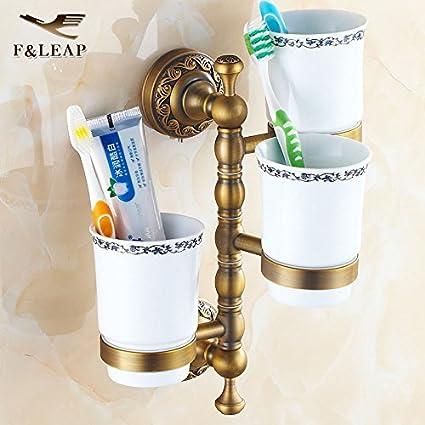 Fuda Golden Cobre three-cup Soporte Doble portavasos cepillo de dientes Jabonera Baño actividades en