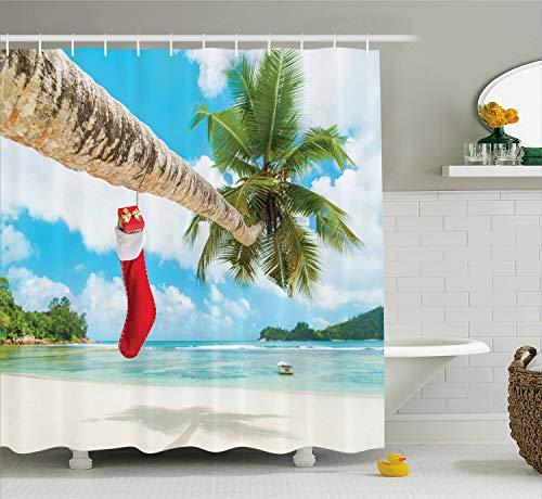 Ambesonne Christmas Shower Curtain, Sock on The Palm Tree on Tropical Sandy Beach Island Maldives Design, Cloth Fabric Bathroom Decor Set with Hooks, 70