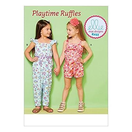 Amazon.com: Kwik Sew Girls Easy Sewing Pattern 233 Ruffled Jumpsuit ...