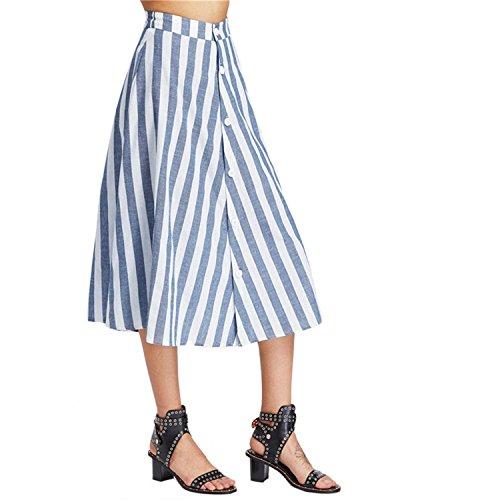Jaccb Matgbd Waist Button Front Striped Skirt Vintage A Line Vertical Striped Skirt Summe Blue High Waist Skirt