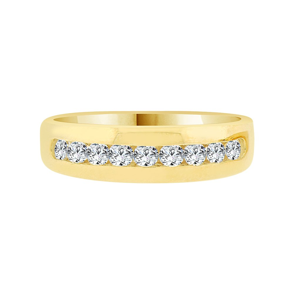 14k Yellow Gold, Elegant Polished Lady's Band Ring Created CZ Crystals Size 5