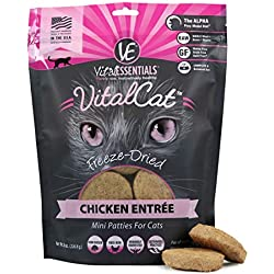Vital Cat Freeze-Dried Chicken Mini Patties Grain Free Limited Ingredient Cat Entrée, 8 Ounce Bag