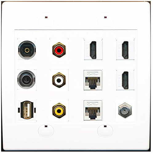 RiteAV 3 Port HDMI 2 Cat5e Ethernet RCA Composite Optical 3.5mm USB Wall Plate