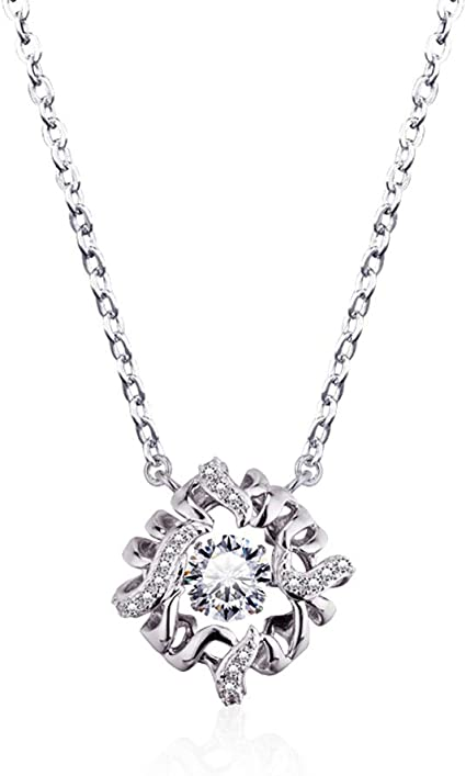 1.75ct for Women 925 Sterling Silver Dancing Round Cut White Cubic Zirconia Pendant Necklace