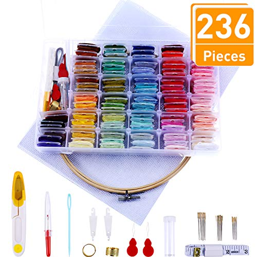 Blulu 236 Pieces Colorful Embroidery Floss Cross Stitch Set