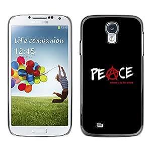 Be Good Phone Accessory // Dura Cáscara cubierta Protectora Caso Carcasa Funda de Protección para Samsung Galaxy S4 I9500 // Peace Symbol Slogan Sign Quote Red White