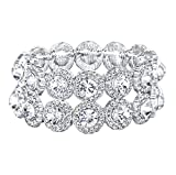 EVER FAITH Women's Austrian Crystal Bridal 2 Layers 8-Shaped Elastic Stretch Bracelet Clear Silver-Tone