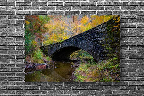 Tennessee Photography Metal Print - Aluminum Wall Art of Fall Foliage Surrounding Old Stone Bridge in Great Smoky Mountains Tennessee Decor 8x10 to 24x36