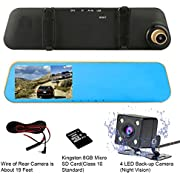 TENNBOO 4.3 Full HD 1080P Dual Lens Car Dash Camera 170°Wide Angle Front and Rear Mirror Mount DVR,Dashboard Display with G-Sensor, WDR, Loop Recording,Night Vision( SD Card Included)