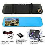 """TENNBOO 4.3"""" Full HD 1080P Dual Lens Car Dash Camera 170°Wide Angle Front and Rear Mirror Mount DVR with G-Sensor, Loop Recording,Night Vision(8G Micro SD Card Included) (Gold)"""