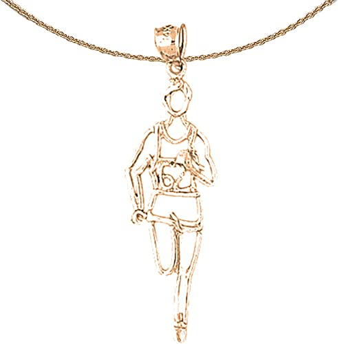 Jewels Obsession Runner Necklace 14K Rose Gold-plated 925 Silver Runner Pendant with 18 Necklace