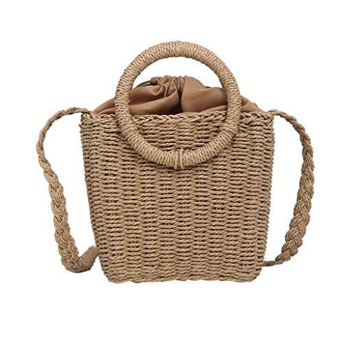 KawaiineWomen Summer Weave Rattan Shoulder Bag Shoulder Leather Straps Natural Chic Hand Bag Purse for Travel Everyday Use