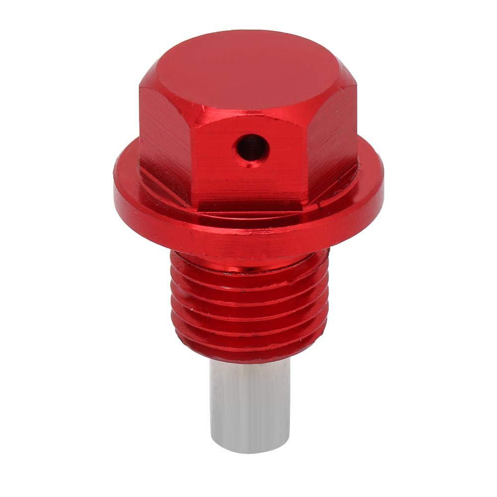 M12 Perno de drenaje del c/árter de aceite 1.25 Tornillo del perno de drenaje del c/árter de aceite del coche de aleaci/ón de aluminio rojo del coche magn/ético