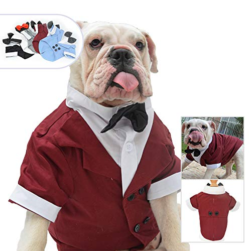 Lovelonglong Bulldog Costume Dog Suit Formal Tuxedo with Black Bow Tie Wedding Clothes for Pugs/French Bulldog/English Bulldog/American Pit Bull Brown B-L