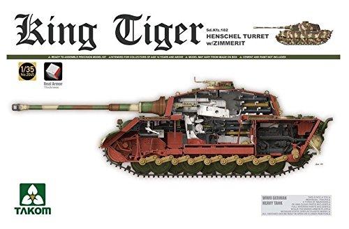 タコム 1/35 第二次世界大戦 ドイツ軍重戦車 Sd.Kfz.182 キングタイガー ヘンシェル砲塔 インテリア/ツィンメリットモールド付 (履帯新金型バージョン) プラモデル TKO2045S B07D5DNSW2