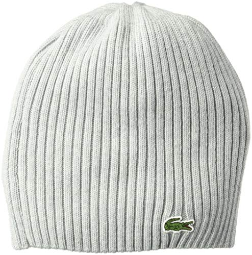 Lacoste Men's Classic Wool Ribbed Knit Beanie, PLUVIER Chine, One - Lacoste Beanie Hats