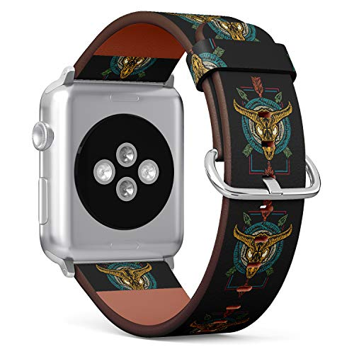 (Wild west Bison Skull and Crossed Arrows of Native American Culture.) Patterned Leather Wristband Strap for Apple Watch Series 4/3/2/1 gen,Replacement for iWatch 42mm / 44mm Bands