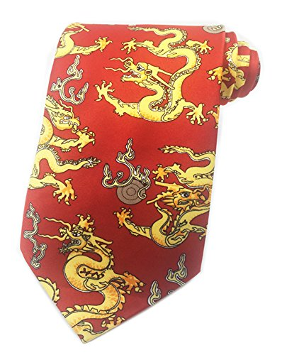 Secdtie Mens Classic Tie Dragon Panda Printed Jacquard Woven Party Necktie ()