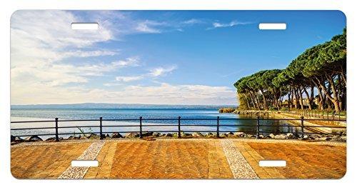 zaeshe3536658 Italian License Plate, Terrace Promenade Balcony and Pine Trees in Bolsena Lake Italy Print, High Gloss Aluminum Novelty Plate, 6 X 12 Inches.
