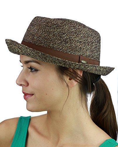 C.C Unisex Solid Color Band Multicolored Weaved Upturn Brim Pork Pie Hat, Brown Mix