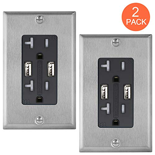 Black USB Outlet Receptacle, 2Pack GUKIBO High-Speed Charger Outlet 20A Tamper-Resistant Duplex Receptacle, 3.4A Electrical Wall Outlet with Dual USB Ports with Stainless Steel Wall Plates UL-Listed (Steel Electrical)