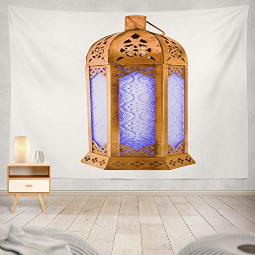 KJONG Moroccan Copper Lantern with Blue Glass Candle White with Moroccan Morocco Lamp Light Africa Antique BlueDecorative Tapestry,60X60 Inches Wall Hanging Tapestry for Bedroom Living Room