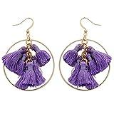 BTSETS Bohemian Tassel Earrings for Women White Party Round Statement Bridal Earrings