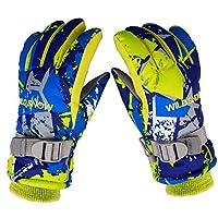 Preself Ski Gloves Warm Snow Gloves Fit Boys Girls 5 Fingers Waterproof Windproof Snowboard Gloves
