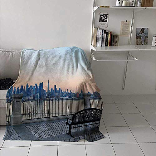 (maisi Landscape Digital Printing Blanket Bench in New York City Midtown Manhattan Sunset Hudsn River Skyline Scenery Photo Summer Quilt Comforter 62x60 Inch Multicolor)