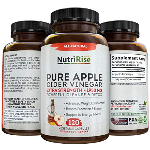 Apple Cider Vinegar Capsules for Weight Loss & Cleanse – 100% Pure Extra Strength 1950mg – 120 Natural Diet Pills for Women & Men for Bloating & Constipation Relief, Digestion & Energy Boost