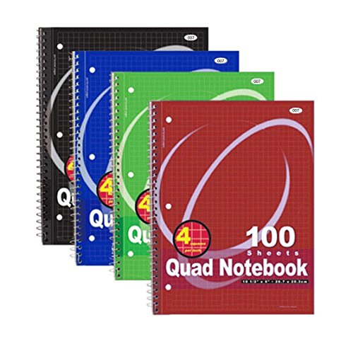 (RamPro Quad-ruled Spiral Notebook 10-1/2 X 8 Inches, Assorted Colors, 100 Count (007) [4-Pack])