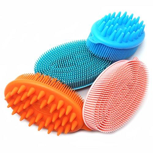 Silicone Body Brush Shower Bath Soft Shampoo Head Scalp Body Massager for Cellulite Treatment & Skin Exfoliation - Random colors (Multi)