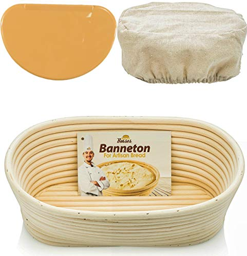 Basket Liner Patterns - Oval Bread Banneton Proofing Basket - 10 Inch Baskets Sourdough Brotform Proofing Basket Set Banaton Towel for Baking Oval Proofing for Sourdough Bread Making Starter Jar Kit Accessories Tools