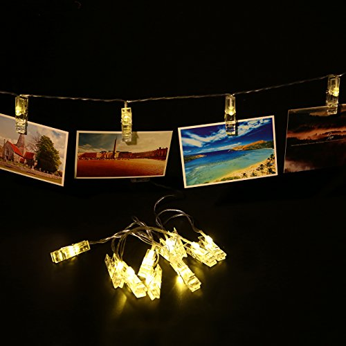 Photo Clip String Lights 10 LED Battery Powered Clip Lights for Hanging Photos Cards and Artwork Two Pack Bundle Each String Measures 5.5 ft with 10 Clips (Warm White)