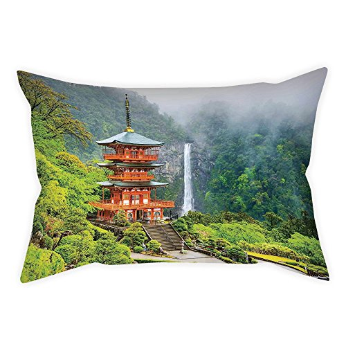 Throw Pillow Cushion Cover,Home Decor,Far Eastern Temple Surrounding Trees and Fall Foggy Mystical Asian Scene Zen Wall Picture,Green Red,Decorative Square Accent Pillow Case ()