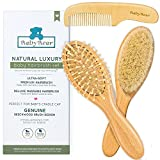 Natural Baby Hair Brush and Comb Set ~ Newborn Hair Brush Natural ~ Ideal Cradle Cap Brush for Babies ~ Newborn Cradle Cap Brush Set ~ Baby Hair Brush Natural Boy Girl ~ Toddler Hair Brush Set