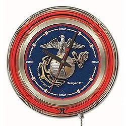 Holland Bar Stool Company NCAA United States Marine Corps Double Neon Ring 15-Inch Diameter Logo Clock