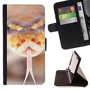 - CLOSE UP NATURE SNAKE MACRO ORANGE HISS - - Prima caja de la PU billetera de cuero con ranuras para tarjetas, efectivo desmontable correa para l Funny HouseFOR Apple Iphone 6